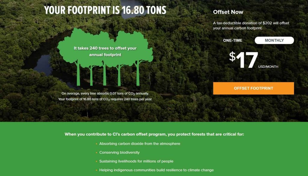 A carbon footprint calculator's call to action for you to buy carbon offsets to offset your footprint