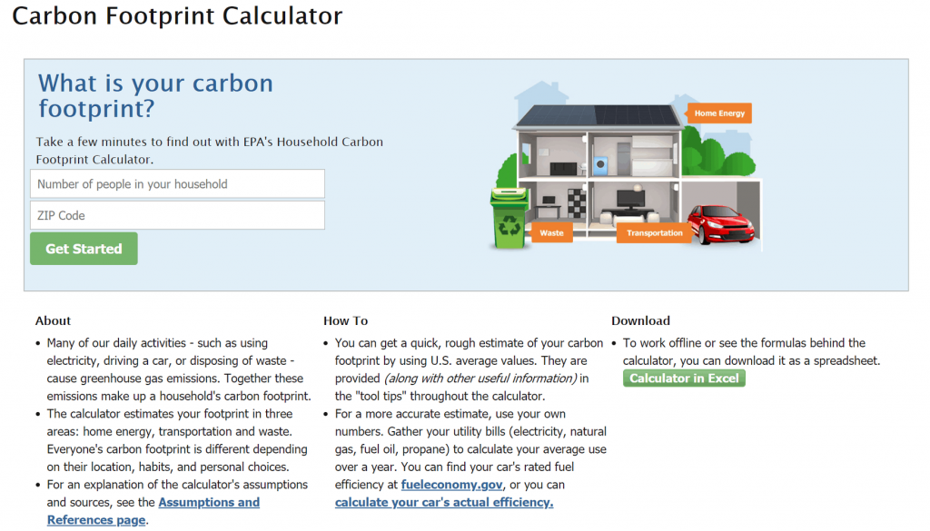 EPA Carbon Footprint Calculator