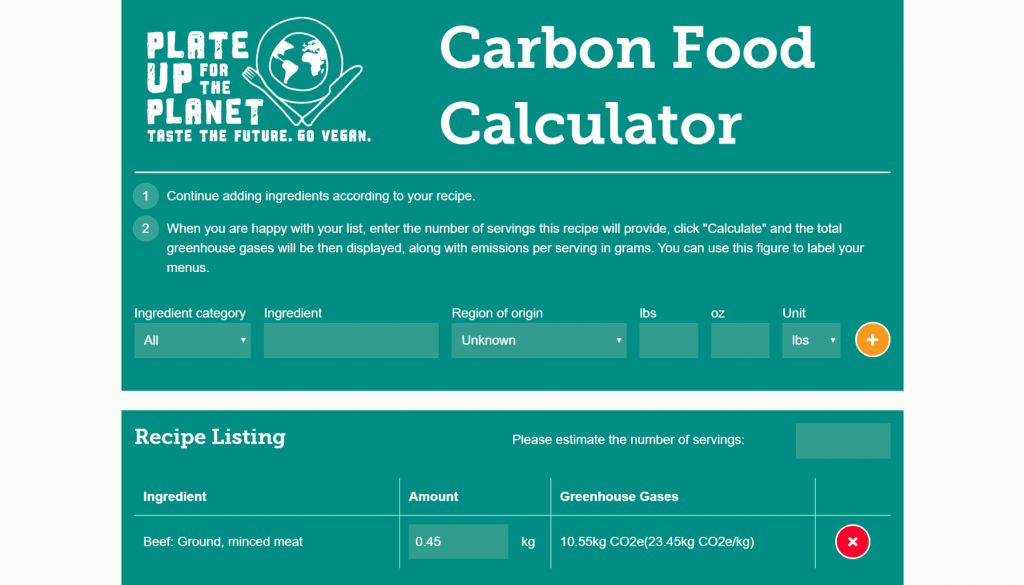 The Vegan Society Carbon Food Calculator