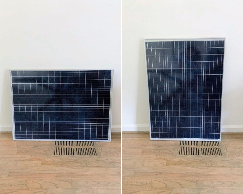 A 100 watt solar panel oriented horizontally next to another 100 watt solar panel oriented vertically